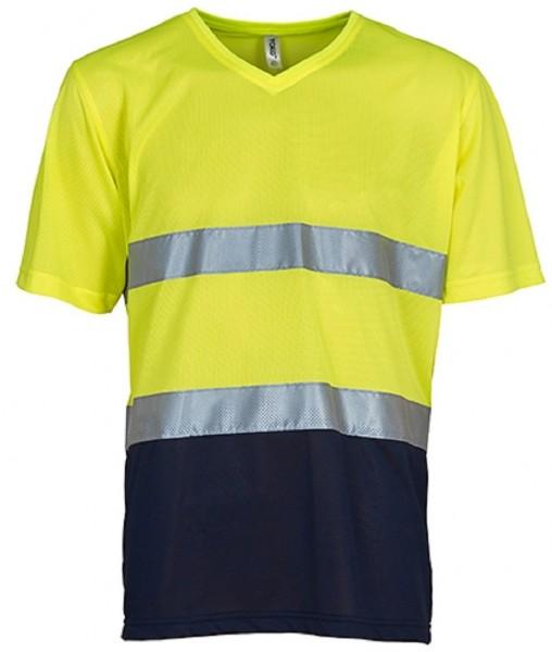 Hi Vis Top Cool Super Light V-Neck T-Shirt, yellow/navy