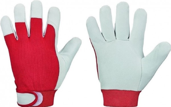 Nappalederhandschuh mit Klettverschluss, RED NAPPA