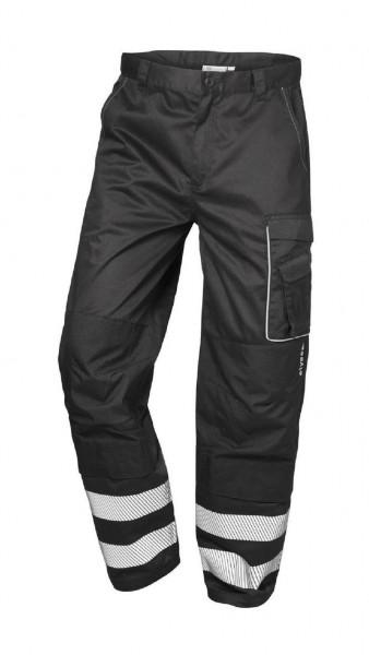 Twill-Atbeitshose, schwarz mit Reflexstreifen, BAMBERG.