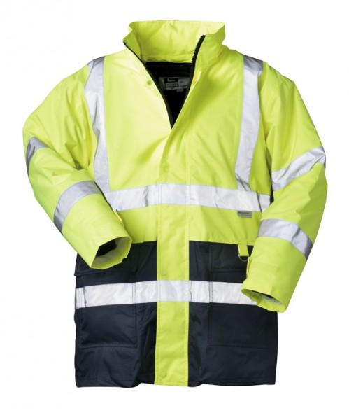 Günstiger atmungsaktiver Warnschutz Parka gelb/marine