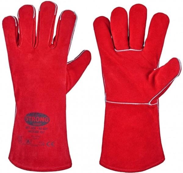 Gefütterter Schweißerhandschuh RS 53/F, rotes Leder