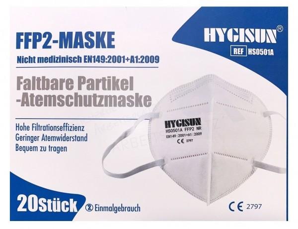 HYGISUN FFP2 Faltmaske ohne Ventil, 20 Stück Box